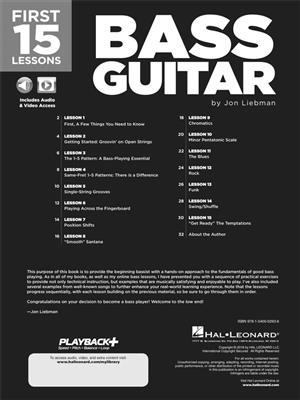 Jon Liebman: First 15 Lessons - Bass Guitar: Guitar or Lute