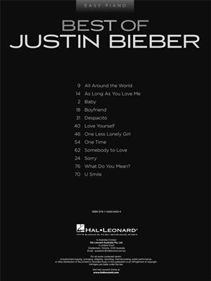 Justin Bieber: Best of Justin Bieber: Easy Piano