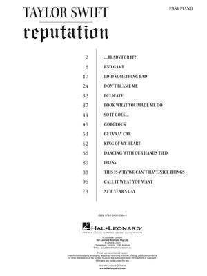Taylor Swift - Reputation: Easy Piano