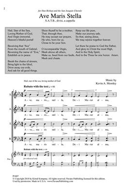 Kevin A. Memley: Ave Maris Stella: Mixed Choir