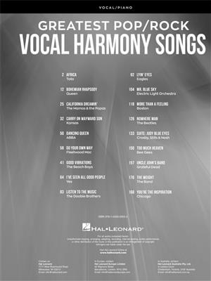 Greatest Pop/Rock Vocal Harmony Songs: Vocal & Piano