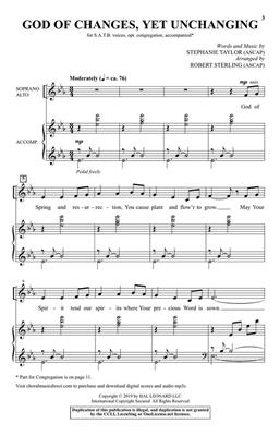 Stephanie S. Taylor: God of Changes, Yet Unchanging: Arr. (Robert Sterling): SATB