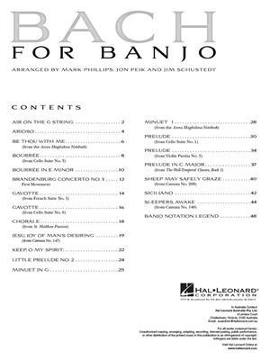 Johann Sebastian Bach: Bach for Banjo: Arr. (Mark Phillips): Banjo