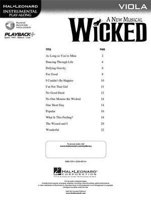 Stephen Schwartz: Wicked - Viola: Viola
