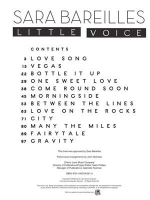 Sara Bareilles: Sara Bareilles - Little Voice: Piano, Vocal and Guitar