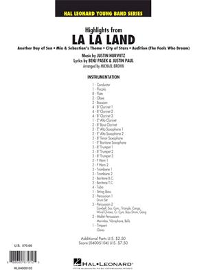 Justin Hurwitz: Highlights from La La Land: Arr. (Michael Brown): Concert Band