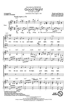 The Beatles: Good Night: Arr. (Audrey Snyder): SATB