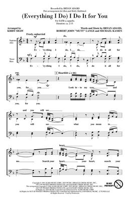 Bryan Adams: (Everything I do) I do it for You: Arr. (Kirby Shaw): SATB