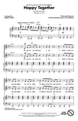Garry Bonner: Happy Together: Arr. (Kirby Shaw): 2-Part Choir