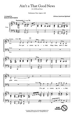 Ain't A That Good News: Arr. (Rollo Dilworth): SATB