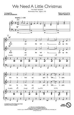Jerry Herman: We Need a Little Christmas: Arr. (Roger Emerson): 2-Part Choir