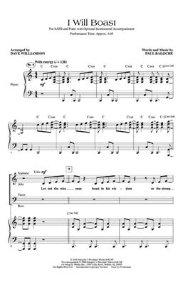 Paul Baloche: I Will Boast: Arr. (Dave Williamson): SATB