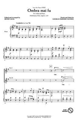 Georg Friedrich Händel: Ombra mai fu: Arr. (Henry Leck): 2-Part Choir
