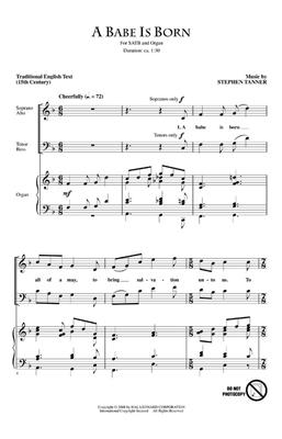 Stephen Tanner: A Babe Is Born: SATB