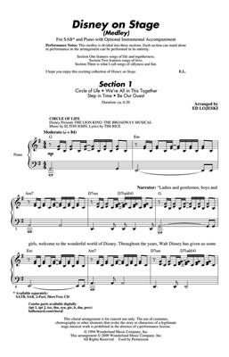 Ed Lojeski: Disney on Stage (Medley): Mixed Choir