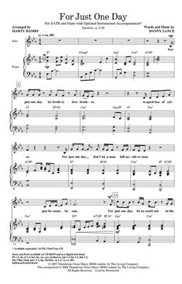 Danny Lance: For Just One Day: Arr. (Marty Hamby): SATB