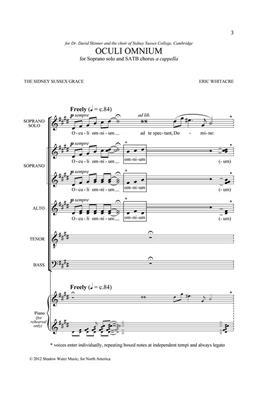 Eric Whitacre: Oculi Omnium: Mixed Choir