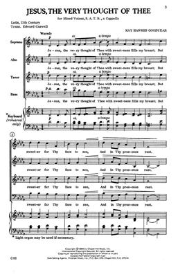 Kay Hawkes Goodyear: Jesus, The Very Thought Of Thee: Arr. (Kay Hawkes Goodyear): SATB