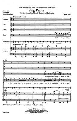 Samuel Adler: Sing Praise: Arr. (Samuel Adler): SATB