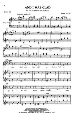 Hank Beebe: And I Was Glad: Arr. (Hank Beebe): 2-Part Choir