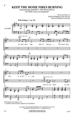 Katherine Lee Bates: Keep the Home Fires Burning: Arr. (Berta Poorman): SATB