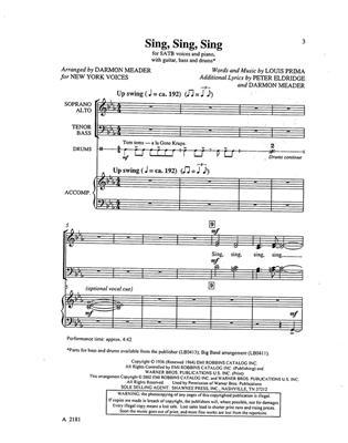 Louis Prima: Sing Sing Sing : Arr. (Darmon Meader): SATB