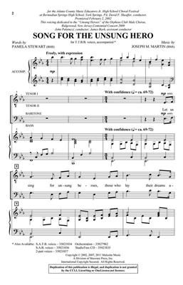 Joseph M. Martin: Song for the Unsung Hero: Men's Choir