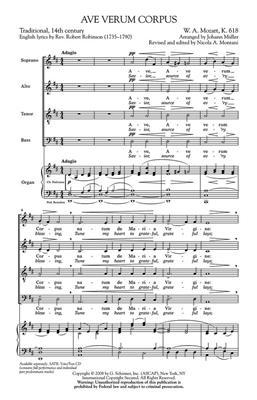Wolfgang Amadeus Mozart: Ave Verum Corpus: Arr. (J Muller): SATB