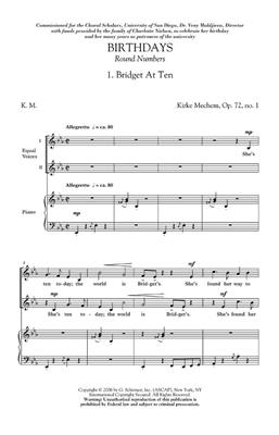 Kirke Mechem: Birthdays / Round Numbers Op. 72: Mixed Choir