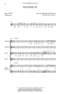 Giovanni Pierluigi da Palestrina: Magnificat: Arr. (Jameson Marvin): SSAA
