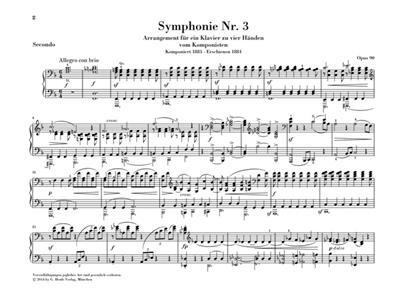 Johannes Brahms: Symphonies No. 3 And 4 - Arrangement: Piano Duet
