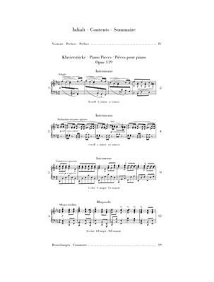 Johannes Brahms: Piano Pieces Op. 119: Piano