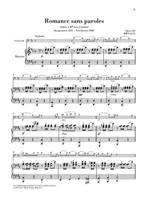 Felix Mendelssohn Bartholdy: Romance sans paroles op. 109: Cello