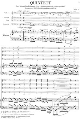 Johannes Brahms: Piano Quintet f Minor Op. 34: Piano Quartet