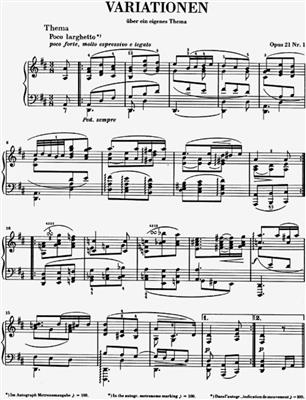 Johannes Brahms: Variations Op.21 No.1 And 2: Piano