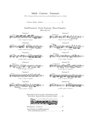 Georg Philipp Telemann: 12 Fantasias For Flute Solo: Flute