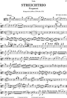 Wolfgang Amadeus Mozart: String Trio E flat major KV 563: Classical