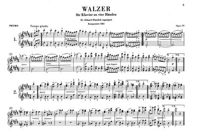 Johannes Brahms: Waltzes Op.39 - Piano Duet: Piano Duet