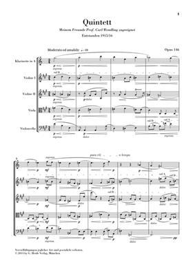 Max Reger: Klarinettenquintett A-dur op. 146: Clarinet & String Quartet
