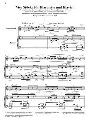 A. Berg: Vier Stucke Klarinette Und Klavier Op 5: Clarinet