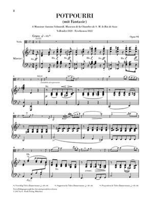Johann Nepomuk Hummel: Potpourri (Fantasie) Op 94 Fur Viola Und Orchester: Orchestra