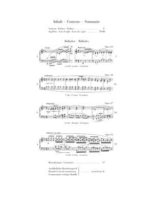 Frédéric Chopin: Ballades (Urtext): Piano or Keyboard