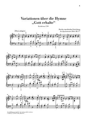Franz Joseph Haydn: Variations On The Hymn 'Gott Erhalte': Piano
