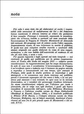 Claudio Monteverdi: L'Incoronazione Di Poppea: Opera Text Book