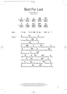 Adele:  Adele Guitar Chord: Guitar, Chords and Lyrics