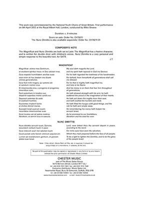 John Tavener: Magnificat and Nunc Dimittis: Mixed Choir