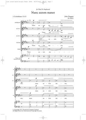 John Duggan: Nunc Autem Manet (Novello New Choral Series): SATB