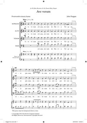 John Duggan: Ave Verum (Novello New Choral Series): SATB