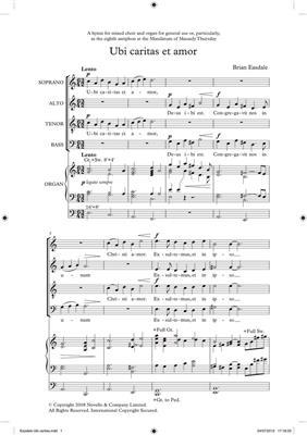 Brian Easdale: Ubi Caritas Et Amor (Novello New Choral Series): SATB