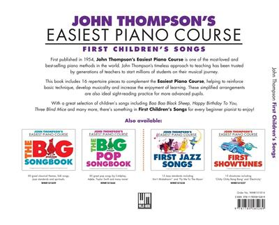 J Thompson's Piano Course: First Children's Songs